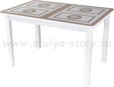 Стол обеденный Гамма ПР-1 БЛ ст-71 04 БЛ (белый с греческим орнаментом)