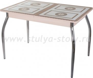 Столы со стеклом Гамма ПР-1 МД ст-71 01 (молочный дуб с греческим орнаментом)