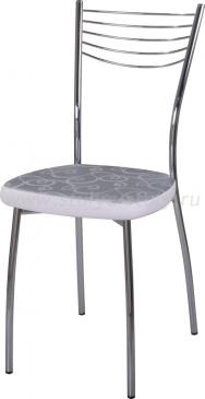 Стул кухонный Омега-1 Д-1/В-0 серебристый с узором/искрящийся белый, повышенной комфортности