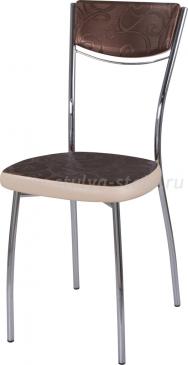 Стул кухонный Омега-4 Д-4/В-1 спД-4/В-1 коричневый (темная бронза) с узором/бежевый, повышенной комфортности