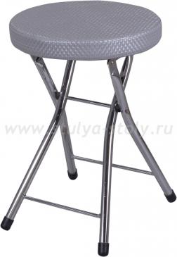 Кухонный табурет Соренто F-7/F-7 серебристый с плетеной текстурой, повышенной комфортности