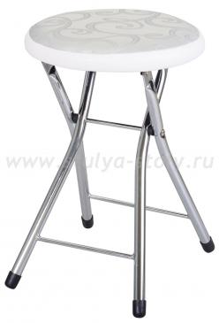 Кухонный табурет Соренто Д-1/В-0 серебристый с узором/искрящийся белый, повышенной комфортности