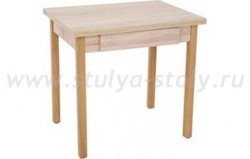 Стол обеденный раскладной с ящиком на деревянной опоре (коричневый)