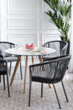 «Франческо» Стол интерьерный Ø90см, столешница HPL, цвет Молочный, деревянное подстолье